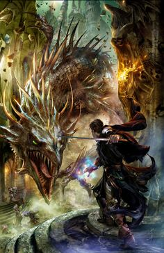 A sword wielding mage confronts a dragon in this cover art by Jon Sullivan.  This was commissioned for book 2, Archmage, of Ed Greenwood's Falconfar series, in which a hapless writer gets drawn into a world of his own devising and must save it from corruption.  Reviewers on Goodreads rate the book poorly, and see Greenwood as venting his anger at losing creative control over Dungeons & Dragons Forgotten Realms setting, which he devised in 1967.
