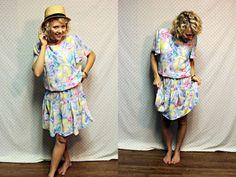 upcycled vintage retro loud floral white flapper girl dress womens size medium large. $19.99, via Etsy.