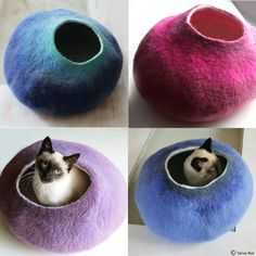 Custom felted Cat Bed  Hand Felted Wool Cat Bed / by vaivanat, $59.00