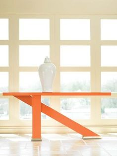 Our Omni Collection's console! Modern tangerine table by Century Furniture Furniture Decor, Modern Furniture, Furniture Design, Decor Interior Design, Interior Decorating, Fresco, Cool Tables, Side Tables, Orange Design
