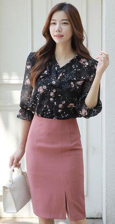 StyleOnme_Slit Detail H-Line Skirt #pencilskirt #pink #stylish #feminine #koreanfashion #kstyle #kfashion #summertrend #dailylook