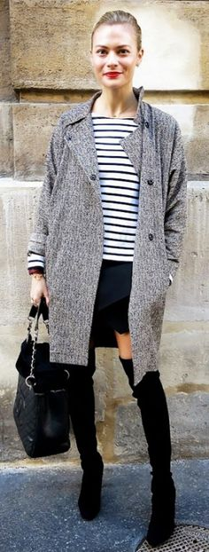 Loving the mini skirt with over-the-knee boots