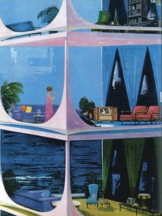 What did the future look like from the See some modernist-style retro futuristic home concepts that captured the midcentury era's sleek style and space-age optimism. Mid Century Art, Mid Century House, Mid Century Style, Mid Century Modern Design, Retro Home, Retro Art, The Art Of Electronics, Futuristic Home, Futuristic Design