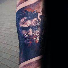 Wolverine James Howlett With Cigar Mens Forearm Sleeve Tattoo