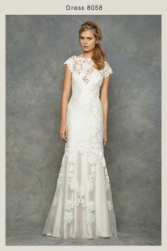 Bridal Gowns David Fielden Sheath Wedding Dress With Bateau Neckline And Dropped Waist Waistline