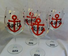 Anchor Wine Glass Nautical theme Bachelorette by kreationsbykjs, $11.00