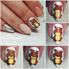 Nail Drawing, Bear Drawing, Love Nails, Pretty Nails, My Nails, Glam Nails, Beauty Nails, French Nails, Animal Nail Designs