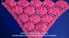 chal triangular tejido a crochet paso a paso en  punto rococo