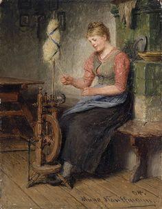 Mädel am Spinnrad. Huile sur toile en 1904 de Hugo KAUFFMANN (allemand 1844 – 1915)