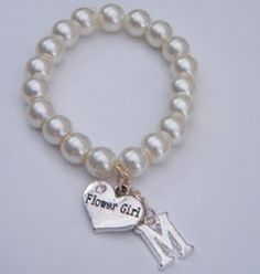 Flower Girl Initial Charm Bracelet - Beaded Style - Wedding Heart