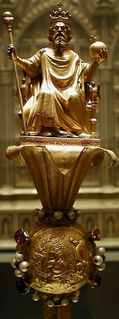 """Sceptre of King Charles """"Charlemagne"""". Aachen Cathedral, Carolingian, Holy Roman Empire, Plantagenet, Early Middle Ages, Medieval Jewelry, Family Roots, Dark Ages, Crown Jewels"""