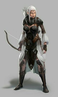 Female Elf Archer - Pathfinder PFRPG DND D&D d20 fantasy