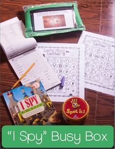 I Spy Busy Box has something for the younger kid and something for the older one. What would you add to this workbox? | Line upon Line Learning