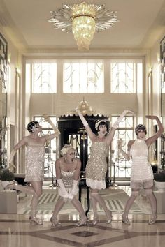 Flapper girls- on the stairway in front of iron; out back in front of pool