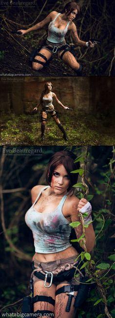 Lara Croft (Tomb Raider) Cosplayer: Eve Beauregard Costumes Photographers: WhatABigCamera.com & Roger Stonehouse