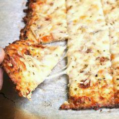 "Oh yum-Cheesy Cauliflower ""bread""! Healthy Gluten Free Recipes, Low Carb Recipes, Healthy Snacks, Healthy Eating, Cooking Recipes, Clean Eating, Ww Recipes, Healthy Pizza, Vegetarian Recipes"