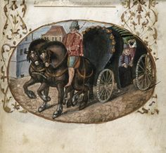 British Library, Harley 5256 f. 22.  Detail of a miniature of a carriage pulled by horses and carrying a masked figure.