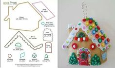 A lady made a gingerbread house that won big at the fair, this kind of looks like it! This will be good as an applique Christmas Sewing, Christmas Home, Handmade Christmas, Christmas Crafts, Christmas Decorations, House Ornaments, Felt Christmas Ornaments, Christmas Stockings, Gingerbread House Patterns