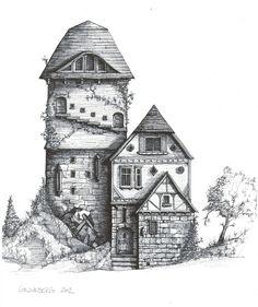 Fantasy Storybook Medieval Whimsical Manor, original ink and watercolor drawing Building Painting, Building Drawing, House Sketch, House Drawing, Watercolor Art Diy, Watercolour, Fantasy House, Fantasy Trees, Fantasy Art