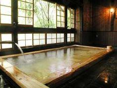 Indoor hot spring bath at Yamamizuki Ryokan in Kurokawa Onsen, Japan