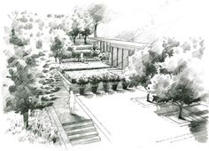 Landscape Architecture Perspective Drawings perspective landscape garden design drawing | illustrationmax