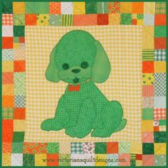 Dottie the Dog baby quilt pattern is the second pet quilt, in the Stuffies series of sweet quilts you can make to decorate a nursery. The quilt pattern is available exclusively through my site here: http://www.victorianaquiltdesigns.com/VictorianaQuilters/PatternPage/Stuffies/DottietheDog.htm #quilting #baby #stuffies