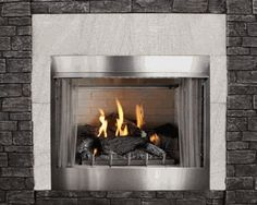 Empire Premium Traditional Stainless Steel Outdoor Gas Fireplace with Intermittent Pilot and Seven-Piece Refractory Log Set - 36 Inch Ventless Natural Gas Fireplace, Vented Gas Fireplace, Outdoor Gas Fireplace, Linear Fireplace, Fireplace Inserts, Fireplace Surrounds, Fireplace Ideas, Gas Fireplaces, Fireplace Logs