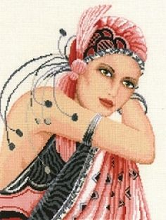 Lady in Pink Cross Stitch