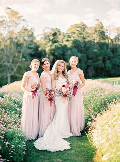 Elegant soft pink bridesmaid dresses for a vintage wedding   Casey Jane Photography   See more: http://theweddingplaybook.com/romantic-gold-pink-vintage-wedding/