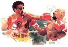 Marvin Hagler vs. Thomas Hearns painting by Bart Forbes, 1985.