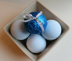 Snowdrift blue and silver sparkle wrapped bath by HancoxHomestead, $4.00