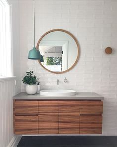 Wall hung timber veneer vanity with grey stone top and oval semi inset basin. Bathroom Mold Cleaner, Mold In Bathroom, Best Bathroom Vanities, Stone Bathroom, Bathroom Basin, Bathtub, Mirror Bathroom, Bathroom Cupboards, Blue Bathroom Interior