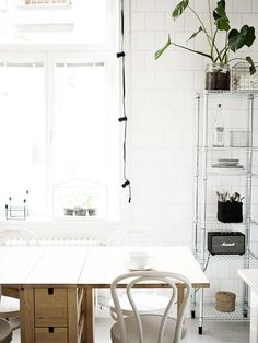 Cozy kitchen with Ikea 'Norden' table & 'Omar' shelf