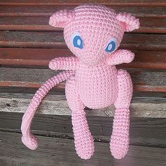 Pokemon Mew plushie (with free crochet pattern) Pokemon Crochet Pattern, Crochet Animal Patterns, Stuffed Animal Patterns, Crochet Patterns Amigurumi, Crochet Dolls, Crocheting Patterns, Pokemon Mew, Pokemon Craft, Pikachu