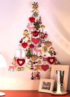 Alternative wall Christmas tree made with ornaments     This is sweet - I am so going to make one next  year!