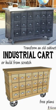 Convert an old cabinet into an industrial cart or build one from scratch with these free woodworking plans. You have got to see the before pics, unbelievable!!! #WoodworkPlans