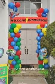 super hero party entrance....with some tweaking could probably be an Olympic party entrance