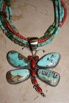 Multi Colored Necklace Wtih Carico Lace Turquoise Dragonfly Pendant