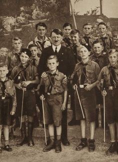 Adolf Hitler with the Boy Scout. Unpublished photograph.