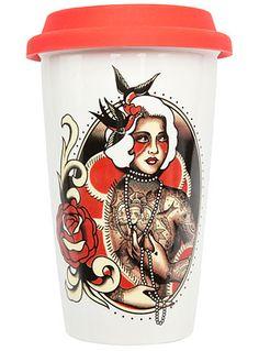 Tattooed Vixen Travel Mug by Sourpuss Clothing, White