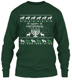 Happy Chrismukkah Forest Green Long Sleeve T-Shirt Front