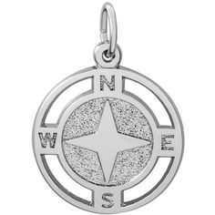 Nautical Compass Charm in Sterling Silver by Rembrandt ($38) ❤ liked on Polyvore featuring jewelry, pendants, sailor jewelry, sterling silver charms, sterling silver jewellery, charm jewelry and nautical jewelry
