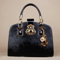 Women Leather Handbag With Top Handle And Gold Hardware