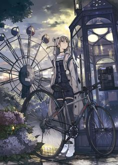 What a beautiful piece of anime art :3 I love eh background that emphasized with a sunset!! :) :3