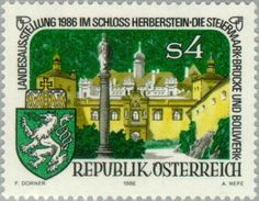 Sello: Herberstein Castle & coat of arms (Austria) (Exhibition 'Die Steiermark') Mi:AT 1847,Sn:AT 1345,Yt:AT 1677,ANK:AT 1879
