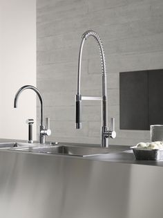 Modern style kitchen faucet by Canaroma Bath & Tile, Toronto at Improve Mall 7250 Keele Street, Unit: 249 Vaughan, ON Widespread Bathroom Faucet, Bathroom Faucets, Kitchen Taps, Kitchen And Bath, Kitchen Stools, Commercial Faucets, Single Handle Bathroom Faucet, Glass Vessel Sinks, Bath Tiles