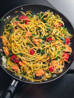 ~S~ Noodle a ZUCCHINI - fry 5-7 cherry or grape tomato halves Pour pesto on top ie Process about 1/8 cup ccnut or mac oil  Juice of one small lemon 1-2 cloves of garlic, to taste 1 cup of basil (approximate) optional: avocado
