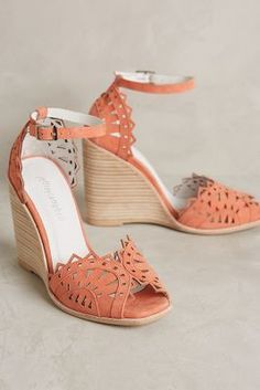 Jeffrey Campbell Proust Wedges Coral #anthrofave