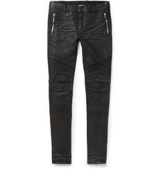 Balmain - Slim-Fit Coated Stretch-Denim Biker Jeans