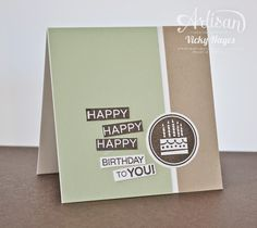 Stampin' Up ideas and supplies from Vicky at Crafting Clare's Paper Moments: Try Pistachio Pudding for a male birthday!